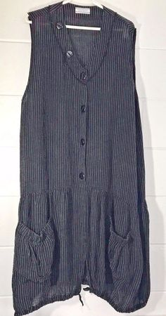 Transparente ART TO WEAR Lagenlook DRESS bloomer Black 90% Linen GERMANY stripes #eBayDanna