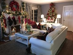 Christmas tree decor. Poinsettia ornaments with IKEA ektorp white sectional sofa