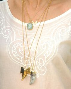 Gold plated shark tooth necklace gold plated by AshbeeJewelry