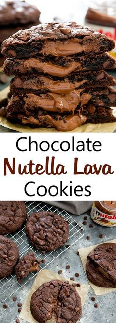 Oversized rich chocolate cookies with a molten Nutella lava center Nutella Lava Cookies. Oversized rich chocolate cookies with a molten Nutella lava center. Chocolate Nutella, Chocolate Cookies, Chocolate Recipes, Cookies With Nutella, Granola Cookies, Nutella Stuffed Cookies, Chocolate Chips, Nutella Brownies, Nutella Cookie Recipe