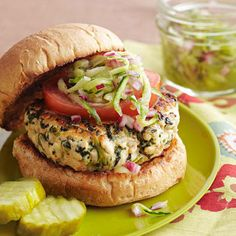 Spinach and Feta Turkey Burgers with Cucumber Relish