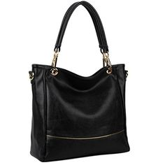 UTO Women Tote Bag PU Leather Handbag Large Capacity Shoulder Bags Black -- Read more  at the image link.