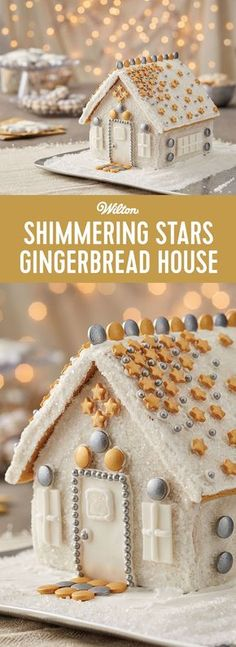 Silver and gold, shimmering stars and sparkle...this gingerbread house is covered in it! If you believe the more bling to the holidays, the better, this gingerbread house kit is for you. It's a fun way to decorate and put some bling to your gingerbread house!