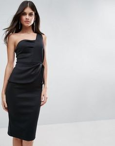 ASOS One Shoulder Fold Peplum Scuba Midi Dress