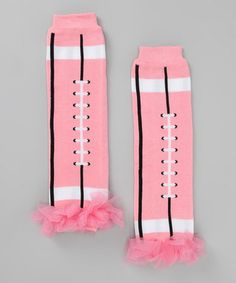 Pink Football Ruffle Leg Warmers