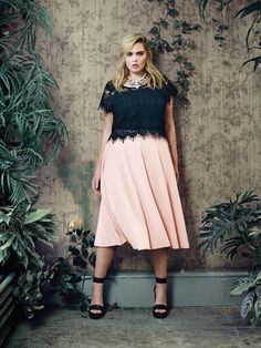 Love & Legend by Addition Elle plus-size lace crop top and pink circular midi-skirt