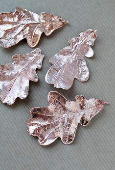 Real oak leaves electroformed with copper, natural leaf, botanical jewelry, woodland pendant, electroforming nature, copper electroform