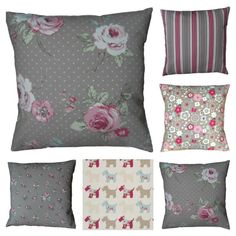 Cushion Covers Vintage Classic Taupe Retro Floral Handmade Clarke & Clarke from £3.75 www.hollesleycottagecrafts.co.uk