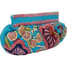 Moyna Handbags Large Gathered Clutch Turquoise - Moyna Handbags Fabric Handbags