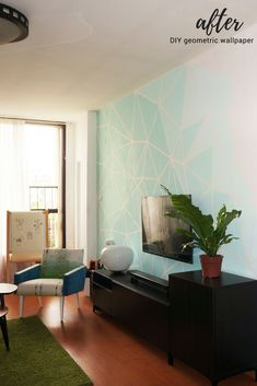 DIY gradient ombre geometric accent wall