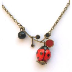 Antiqued Brass Leaf Agate Porcelain Ladybug Necklace