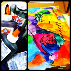 Black glue for Kandinsky inspired abstract paintings yr 7-8