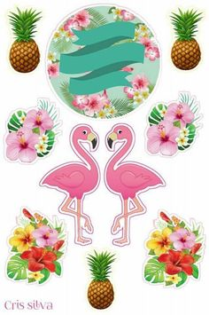 topo de bolo flamingo scrap Ideas and Images Flamingo Party, Flamingo Craft, Flamingo Birthday, Flamingo Pattern, Hawaian Party, Tropical Party, Pink Flamingos, Happy Planner, Holidays And Events