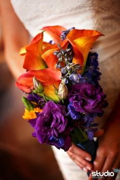 this rocks--bold indigo and orange. alla lilies, delphinium, orange star-of-bethlehem, lisianthus, and scabiosa