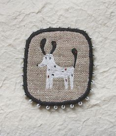 Brooch - The Blackeared, Funny Dogs -collection, hand embroidered