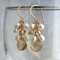 Wedding jewelry, champagne crystal earrings, freshwater pearls, white, ivory, gold earrings, Swarovski Crystal