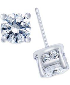 Diamond Stud Earrings (2 ct. t.w.) in 14k White Gold - Earrings - Jewelry & Watches - Macy's