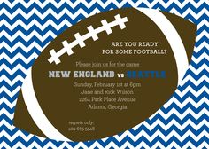 Rooting for the Seahawks? Blue Chevron Tailgate Football Party Invitation at PolkaDotDesign.com