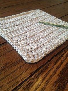 Beginning Crochet Simple Crochet Dishcloth Pattern - Bag Crochet, Crochet Potholders, Crochet Gifts, Crochet Hooks, Crotchet, Free Crochet, Dishcloth Crochet, Crochet Blankets, Learn Crochet