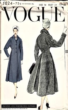 1950's Retro Sewing Pattern  VOGUE 9024  1956 by shellmakeyouflip, $74.00