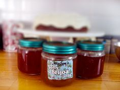 Because of the texture of the feijoa flesh, it is not recommended to make feijoa jam – you end up with a gritty mess. Feijoa jelly on the other hand comes out a beautiful amber colour and is … Fejoa Recipes, Jelly Recipes, Canning Recipes, Pineapple Guava, Recipe Using, Preserves, Sweet Treats, Homemade, Desserts