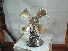 "RARE Nickel Brass""""Coldwave 10"" 3spd Oscillating Fan Sharp Runs Super Original 