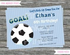 DIY - Boy Soccer Ball Sport Birthday Party Invitation Coordinating Items Available Soccer Cards, Sports Birthday, Soccer Boys, World Cup 2014, Birthday Party Invitations, Some Fun, Stationary, Goals, Prints