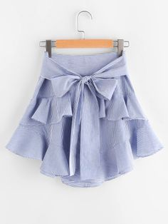 Online shopping for Self Belt Tiered Striped Skirt from a great selection of women's fashion clothing & more at MakeMeChic. Skirt Outfits, Dress Skirt, Cute Outfits, Gown Party Wear, Look Fashion, Fashion Outfits, Western Gown, Look Retro, Frocks For Girls