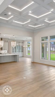Marble Counter, Wood Case, Hardwood Floors, New Construction, Coffer, Ceiling, Gas Fireplace, Small Office, Interior Design