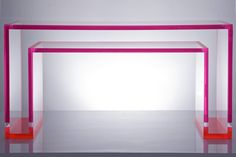 In love with Alexandra von Furstenburg's acrylic console table. Comes in many colors!