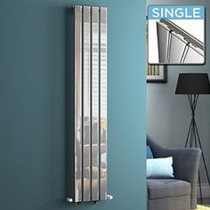 iBathUK | 1600 x 300 mm Vertical Column Radiator Chrome Single Flat Panel Heater