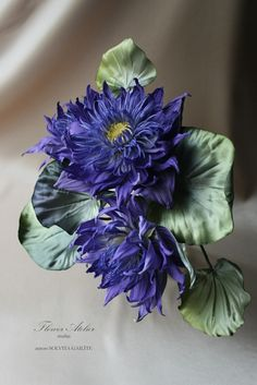 Blue waterlily by Flower Atelier. Millinery silk flower.