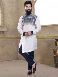 Solid white kurta suit for festive - G3-MKS0741 | G3fashion.com