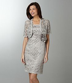 beautiful color and dress! (is this too light a grey for mrs debra?) R and M Richards Lace Jacket Dress #Dillards