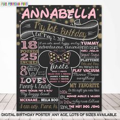 Minnie Mouse Chalkboard Poster Minnie Pink and Gold First Birthday Chalkboard Poster Minnie Mouse Birthday Chalkboard Poster Stats Minnie Mouse Theme Party, Minnie Mouse First Birthday, Gold First Birthday, Baby Girl 1st Birthday, Minnie Mouse Pink, First Birthday Parties, First Birthdays, Birthday Ideas, Mickey Birthday