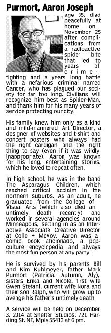 Before purmort died, we had time to sit down and write his obituary. I've never laughed and cried more in one sitting, but I'm so glad we got to do this. I love this man so damn much.