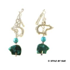 Turquoise Bears and Pewter Bears and Sterling Silver Earrings    SER54