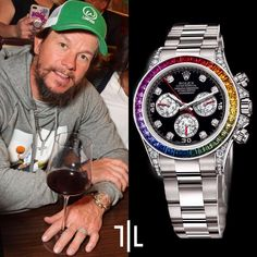 """The American actor #markwahlberg complete his Daytona rainbows collection adding the white gold one to the rose and yellow gold ones we posted about. Yesterday Mark was spotted wearing the #rolex Cosmograph Daytona """"Rainbow"""" in 18k white gold, the bezel is equipped with mutil-coloured baguette-cut sapphires, forming a rainbow pattern of reds, oranges, yellows, greens, limes, blues and purples. Price : $ 250,000.00 #Rolex #markwahlberg #daytona #sapphires #watch #gold #rainbow #diamonds #watches Never Give Up Quotes, Giving Up Quotes, Cool Watches, Rolex Watches, Rolex Cosmograph Daytona, Perfume, Mark Wahlberg, Vintage Rolex, Luxury Watches For Men"""