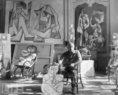 "Pablo Picasso poses in his studio at his villa, ""La California"" on the French Riviera in 1955. Description from pinterest.com. I searched for this on bing.com/images"