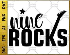 Nine Rocks svg guitar music t shirt design svg kids svg cut Cutting cuttable Files Cricut Silhouette Instant Download vector SVG PNG EPS dxf by KreationsKreations on Etsy