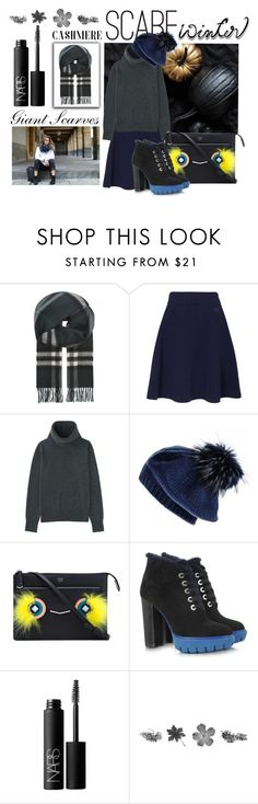 """""""Winter Scarf Style"""" by igiulia on Polyvore featuring Burberry, Kenzo, Uniqlo, Black, Fendi, NARS Cosmetics and scarf"""