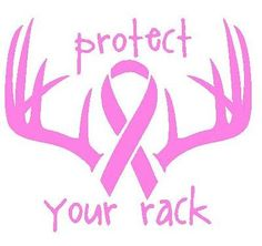 Hunting Deer Antler Window Decal - Breast Cancer Awareness - Protect Your Rack