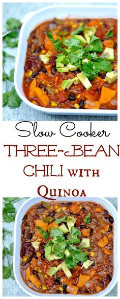 SUPER EASY, delicious, and nutritious chili. Plenty of veggies and protein with just the right amount of spice! Set it and forget it! Less than 5 mins prep! Healthy Slow Cooker, Slow Cooker Soup, Healthy Crockpot Recipes, Spicy Recipes, Slow Cooker Recipes, Soup Recipes, Crockpot Dishes, Cookbook Recipes, Cooking Recipes