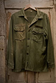 Beautifully worn Vintage 60s US Army shirt by RaggedyThreads, $48.00