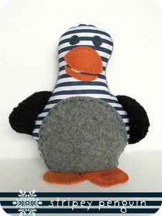 penguin stuffy - with free pattern... make out of old t's?