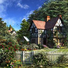 Cottage Digital Art - Rose House by Dominic Davison Tudor Cottage, Tudor House, Cozy Cottage, Cottage Homes, Cottage Style, Casa Tudor, Casa Estilo Tudor, Rose House, Casas The Sims 4