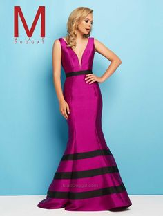 Size 10 Magenta - Flash by Mac Duggal 65577L is a long evening gown with deep V neckline and contrasting color waistband and bands on mermaid skirt.
