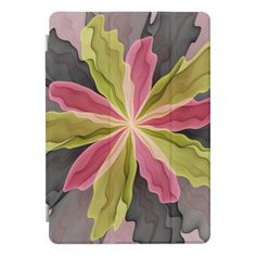 Joy Pink Green Anthracite Fantasy Flower Fractal iPad Pro Cover - floral style flower flowers stylish diy personalize