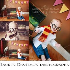 The ultimate Harry Potter mini session photo shoot! Most awesome, cute, unique Harry Potter picture ideas ever! Harry potter photo session with infants, babies, toddlers. Harry Potter photo sessions. Harry Potter baby picture ideas. 3 month Harry Potter picture ideas. 6 month Harry Potter picture ideas. 9 month Harry Potter picture ideas. 1 year and toddler Harry Potter ideas. Harry Potter picture with Hedwig, trunk, books, glasses, scar, Gryffindor scarf.