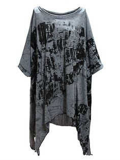 Batwing Short Sleeve Cotton Blend Irregular Loose Long T-shirt